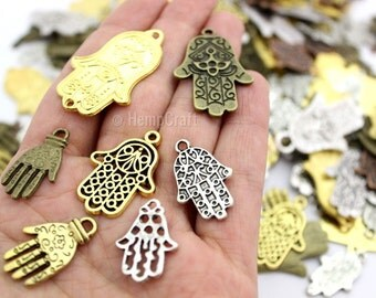 12 Assorted Metallic Finish Mixed Hamsa Hand Shaped Charms - Assorted Sizes - Lead-Free Zinc Alloy - Protection, Palm, Luck, Health, Fortune