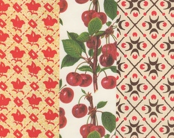 Red Traditional Designs on 12x12 Art Papers for Bookbinding, Decor, Collage and More