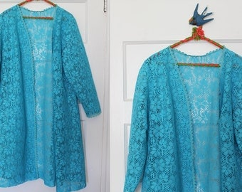 Stevie Nicks Would Be Proud of You Hit the Highways LACE TURQUOISE Over Coat Bohemian Women's Retro Gypsy Medium to Large