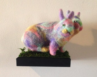 Needle Felted Two-Headed Pastel Rabbit