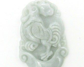 Zodiac Fortune Rooster Amulet Pendant Natural Jadeite 34mm*23mm  Cy150