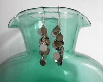 Silver Cascade Earring Long Silver Circles Cluster Earring Kinetic Jewelry Waterfall Earrings