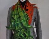 Sale price!Nuno felt chiffon silk scarf - handdyed autumn colours green rust