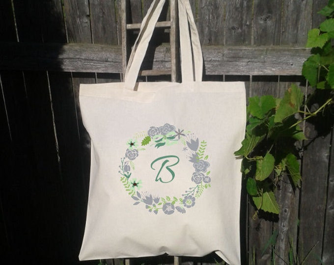 Bridesmaid Tote Bag - Flower Girl Tote - Wedding Welcome Bag - Floral Wreath Gray and Mint