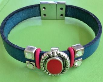 Red Slide and Crystal Slides on Leather Bracelet