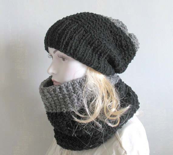 knit cowl scarf hat set grey combo winter men by recyclingroom