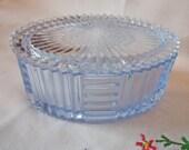 Vintage Ice Blue Glass Oval Dresser Jar Trinket Box