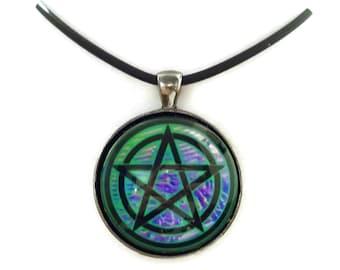 Green and Purple Lava Metallic Pentacle Digital Art Pendant