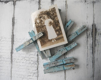 chippy blue pegs 18 pack wedding favour cottage decor shabby and chic painted pegs clothing pins weathered pegs rustic pegs  hand stamped