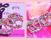 Sprinkle Skull Earrings, Goth Girl Candy Sprinkle Resin Skull Day of the Dead Earrings Handmade By: Tranquilityy