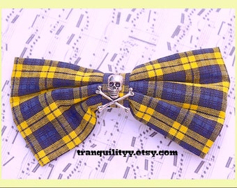 Skull Hair Bow , Yellow n Black Plaid ,Hair Bow, Gothic, Scene, Hispter, Handmade By: Tranquilityy