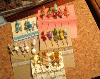 5 CARDS of 5 Pins Each! Stick, Gift Card, CORSAGE, Hat, Party, Sewing Pins: Lampwork, Millefiore, Czech Glass, Cloisonne, SWAROVSKI Crystals