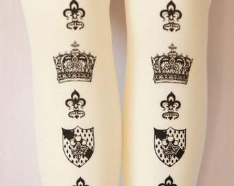 XL Crown Printed Tights Extra Large Plus Size Black on Cream Ivory Dolly Kei Lolita Victorian Steampunk