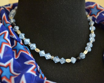 Choker Blue Necklace Vintage Boho Vintage Paris Chic