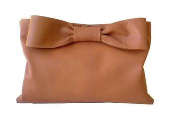 Leather Bow Bag Bow Clutch Foldover Clutch Tobacco Brown Soft Leather Bag Leather Clutch Bag Oversize Clutch Minimalist Leather Bag Goatskin