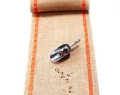 Summer Table Runner - Rustic Table Topper with Orange Ribbon - Natural Table Accessory - Fresh Decorative Idea