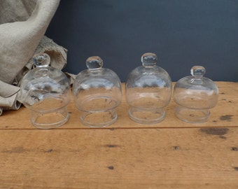 Old traditional french blown glass suction cups  Glass domes Cloches