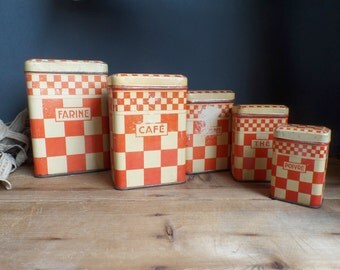 Vintage french tins kitchen metal containers canister flour ...1930s  red patterns