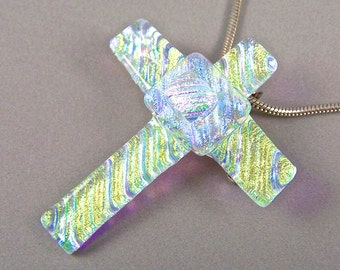 Dichroic Cross Pendant AND PIN Brooch - Golden Yellow Gold Teal Blue Pink Ripple Wavy Waves Diamonds and Ice Glass - Moonstone Glow