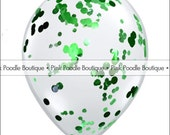 """12"""" CONFETTI FILLED Clear latex BALLOONS (1 pc) -- Circles or Hearts -- Metallic Green -- pif.pay it forward.aok"""