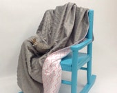 Minky Dot Grey Soft Baby Blanket with Soft Pink Cheron Reverse Side