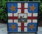 Primitive Wood Parcheesi Game Board Folk Art Americana Gameboard