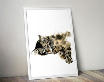 Cat Nap Modern Wall Art Printable Digital Illustration Cats Kitten Kitty Tabby Tiger Watercolor Sketch Drawing Painting Aquarelle Sepia Ink