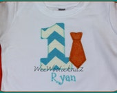 Personalized Boys TIE Birthday T shirt or Bib 1st 2nd 3rd B-Day CUSTOMIZED Colors