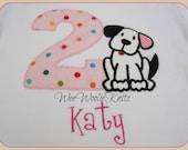 Girls Puppy Birthday T Shirt or Bib Personalized  Pink Applique Dog Bodysuit  1st 2nd 3rd