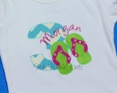 Flip Flop Birthday T Shirt Bib Girls Personalized Applique 1st 2nd 3rd Any Summer Number or Letter