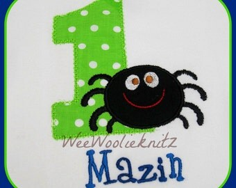 Boys Itsy-Bitsy Spider Personalized Birthday T shirt Bib Girls Applique 1st 2nd 3rd Boutique Style