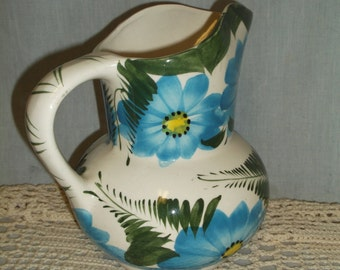 Vintage Hand Painted Pitcher, Mexico, Mexican Folk Art, Blue
