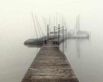 nautical photography, sailboat photography, sailboats,  harbor, marina, fog, lake house decor, lake house art, Harbor Fog No. 1