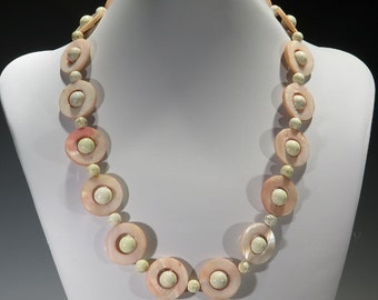 Necklace - Mother of Pearl with Crophase beads