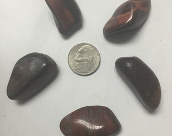 5 pcs Tumbled Red Tigerseye Stones