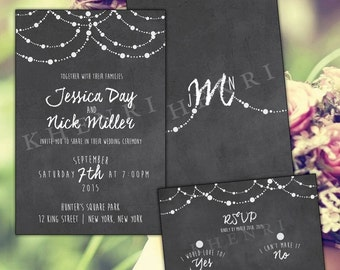 Wedding Invitations - printable - digital file - Chalkboard - chalk