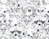 Woodland black white crib sheet- Menagerie - gender neutral - nursery fitted sheet-  Changing pad cover