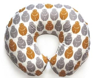 Organic nursing pillow cover HAPPY HIPPOS -safari themed nursery - nursing pillow cover- breasfeeding pillow cover- nursing slipcover
