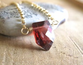 SALE!  Deep Red Garnet, Gold Necklace - 20% OFF