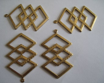 2 Geometric Brass Pendants