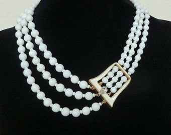 Marvella White Bead and Rhinestone Necklace and Earrings