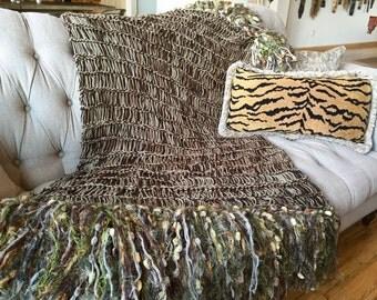 Knit Blanket, Big Fringe Knit Blanket Home Decor Housewares - Brown, Gold, Olive Green, Beige