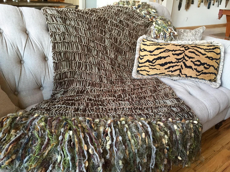 Large Knitting Blankets : Knit blanket big fringe home decor housewares