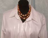 Necklace Beige, Pink and Siver Tone Beaded Single or Double Strand Circa 1950's