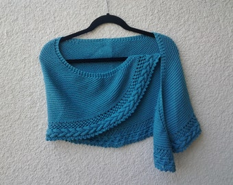 Half Round Knitted Shawl with Cable Edging in blue.