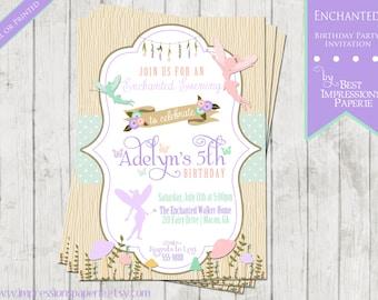 Enchanted - A Birthday Party Invitation -  Fairy Birthday, Woodland Fairy