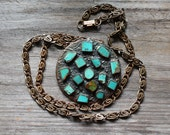 Turquoise and Copper Vintage Sun Bell Necklace