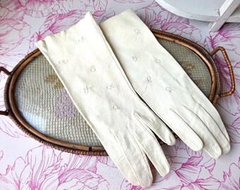 FRENCH GLOVES PAIR of evening white goatskin gloves 1950s