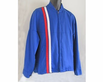 1950s-60s Racing WORK WEAR CORP. jacket, cotton twill, Schultz name tag, Rare. L