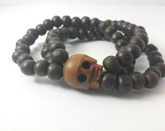 Wood Beaded Skull Bracelet: Wood Beaded Stretchy Bracelet